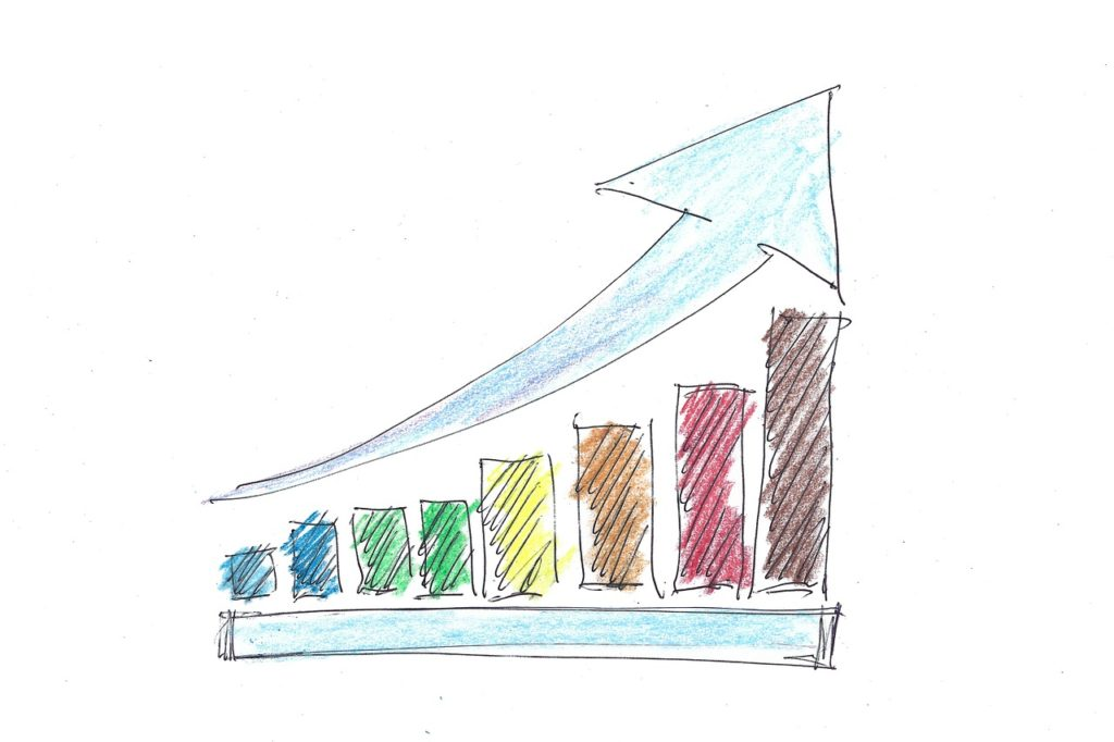 Colorful Bar Chart Drawn with Crayon and Pen