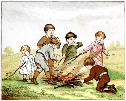 Victorian drawing of several unsupervised children starting a bonfire