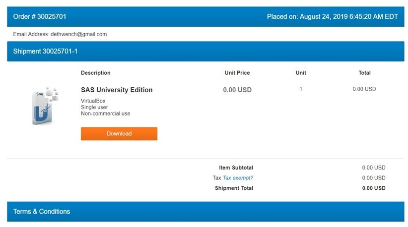 When downloading SAS University Edition, it looks like you are shopping in an online store.