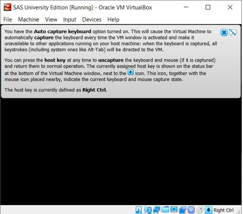 SAS free university edition Screen shot of dialogue box about keyboard capture on VirtualBox
