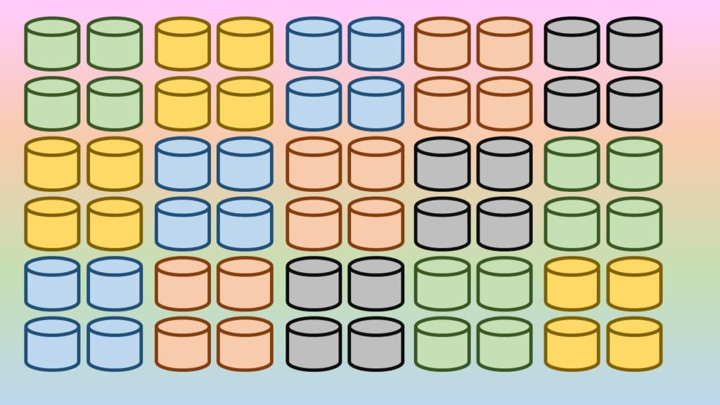 Many images of colorful database shapes on a rainbow background
